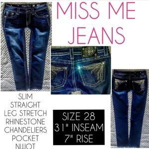 Miss Me Jeans Size 28 Straight Leg Low Rise